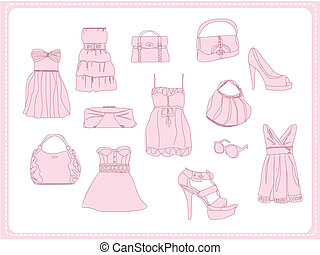 fashion clothes doodle set