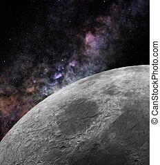 Close to the Moon - Close-up image of the Moon surface with...