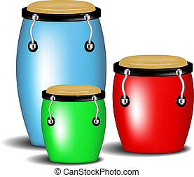 Multicoloured congas music band with shadow on white...