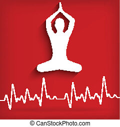 silhouette yoga poses on a red background with cardiogram -...
