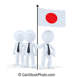 Business team holding flag of Japan. Isolated. Contains clipping path