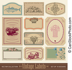 vintage blank labels set (vector) - set of 10 ornate vintage...