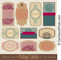 vintage blank labels set vector - set of 10 ornate vintage...