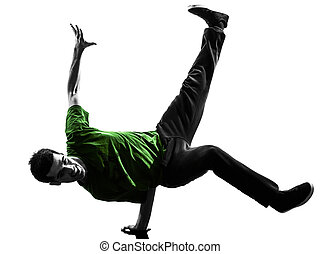 young acrobatic break dancer breakdancing man silhouette -...