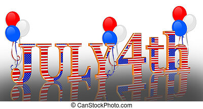 July 4Th background border - 3 Dimensional illustration...