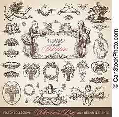 antique valentines set (vector)
