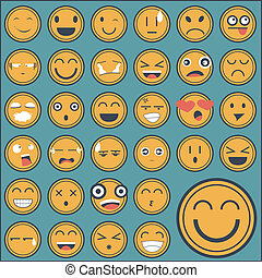 Emotion face sticker collection set on green background