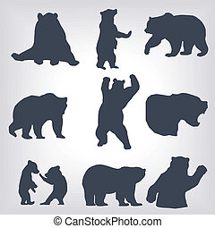 Action bear silhouette set - Action bear silhouette...