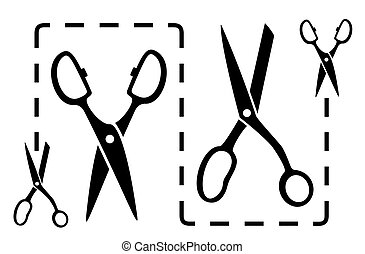 dotted line with scissors cut - set black dotted line with...