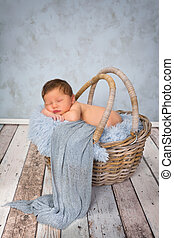 Baby blues - Adorable seven days old newborn baby boy in a...