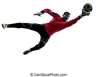 caucasian soccer player goalkeeper man catching ball...