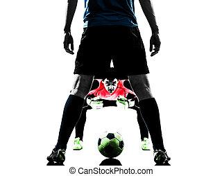 silueta, hombres, dos, competición, jugador, futbol, portero