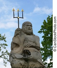 Poseidon, estátua, tridente, peixe