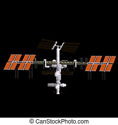 space station - rendering of a space station with Clipping...