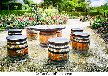 Picnic place with old wooden barrels