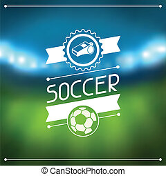 Sports background with soccer stadium and labels
