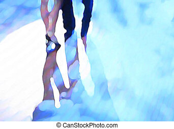 Ballroom dance floor abstract 4, digital painting in blue,...