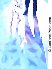 Ballroom dance floor abstract 7, digital painting in blue,...