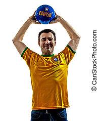 man Brazilian Brazil throwing soccer ball
