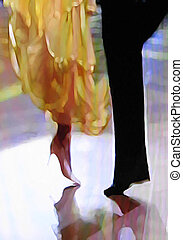 Ballroom dance floor abstract 21, digital painting in...