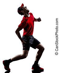 runner jogger running injury pain cramps silhouette - one...