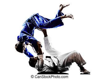 judokas, luchadores, lucha, hombres, silueta
