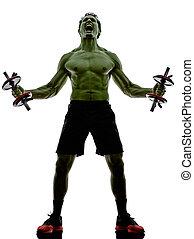 Człowiek, ciężary, trening, wykonuje, silny, podobny,...