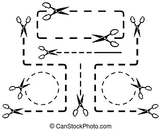 dotted line set with scissors - many dotted line set with...