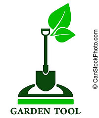 garden tools icon - green garden tools icon with shovel and...