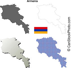 Armenia blank outline map set - High detailed isolated blank...