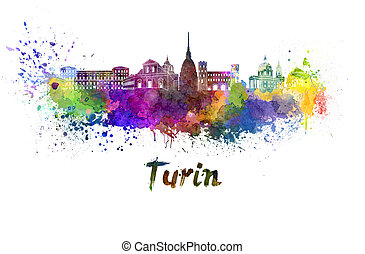 Turin skyline in watercolor splatters with clipping path