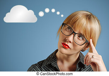 Businesswoman thinking cloud or computing - Businesswoman...