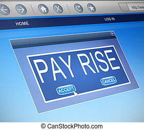 Pay rise concept. - Illustration depicting a computer...