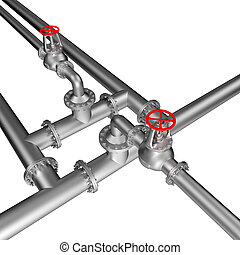 pipe line valves isolated on the white background