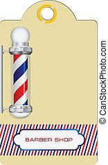 etiqueta, barbeiro, loja