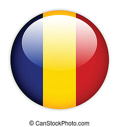 Chad flag button on white