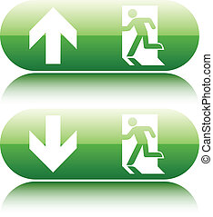 Green  glossy emergency exit sign with arrow up and down on white background