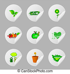 eco icon sticker vector