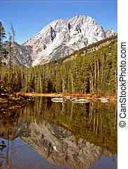 Mt. Moran Reflection - Mt. Moran, in the Teton Range of...