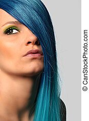 beautiful woman with blue hair - young beautiful woman with...
