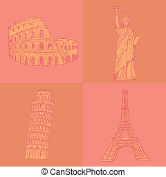 Sketch Eifel tower, Pisa tower, Coloseum and Statue of...