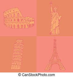 rys, Eifel, wieża, Pisa, wieża, Coloseum, Statua, Swoboda