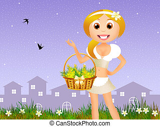 girl with mimosa flowers - illustration of girl with mimosa...