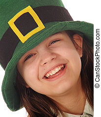 Happy Leprechaun - A laughing preteen girl in an Irish...