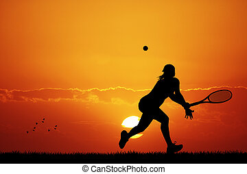 Tennis at sunset - Tennis silhouette at sunset