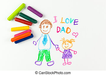 Happy father's day - Child's drawing of happy father's day...
