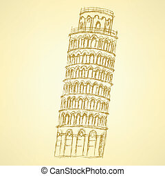 Sketch Pisa tower, vector vintage background eps 10