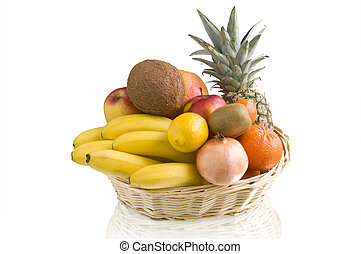 tropical fruits in basket