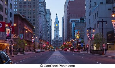 4K night timelapse of Philadelphia streets - Philly...