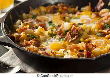 Homemade Hearty Breakfast Skillet with Eggs Potatoes and...
